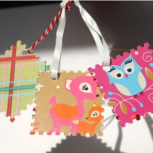 Completed Postage Stamp Gift Tag