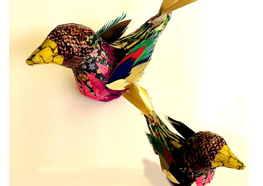 Bird made with Decoupage