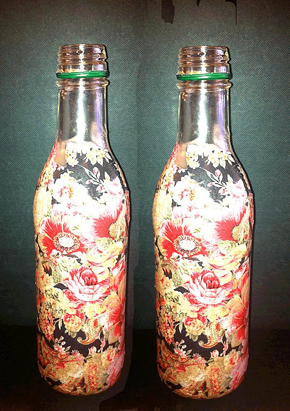 Bottles in a Decoupage Pattern