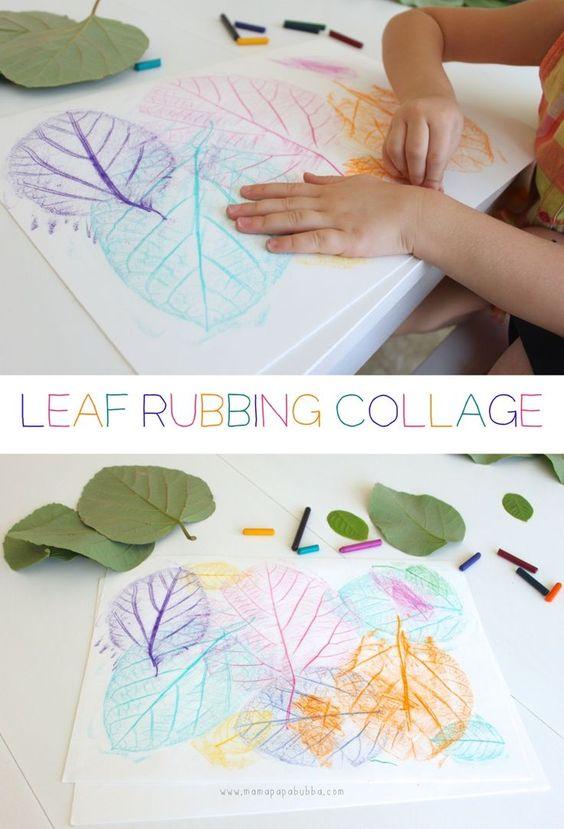 leaf rubbing collage