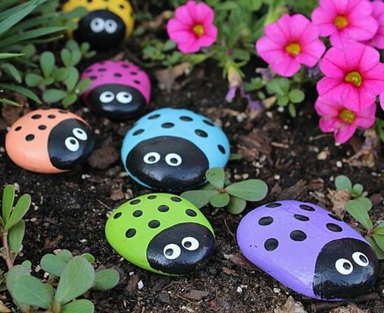 rock painting ladybirds