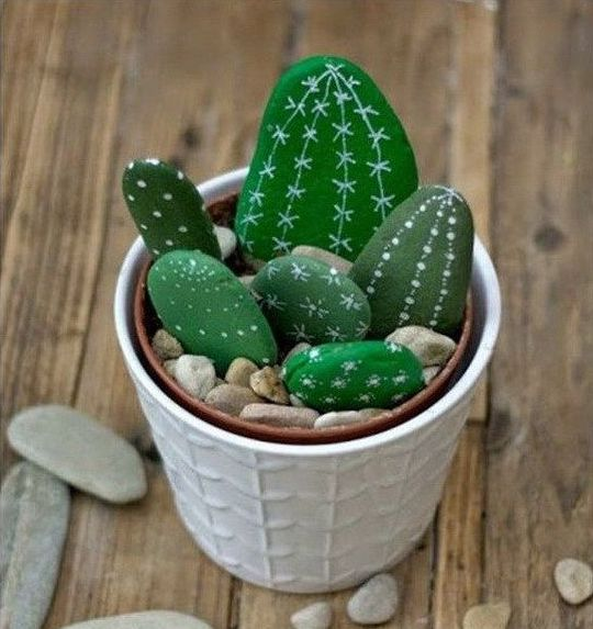 rock painting ideas cactus