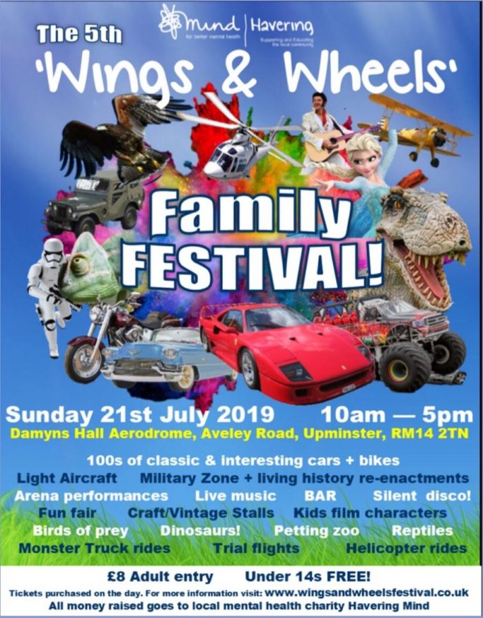 flyer for Wings and Wheels Mind Havering event