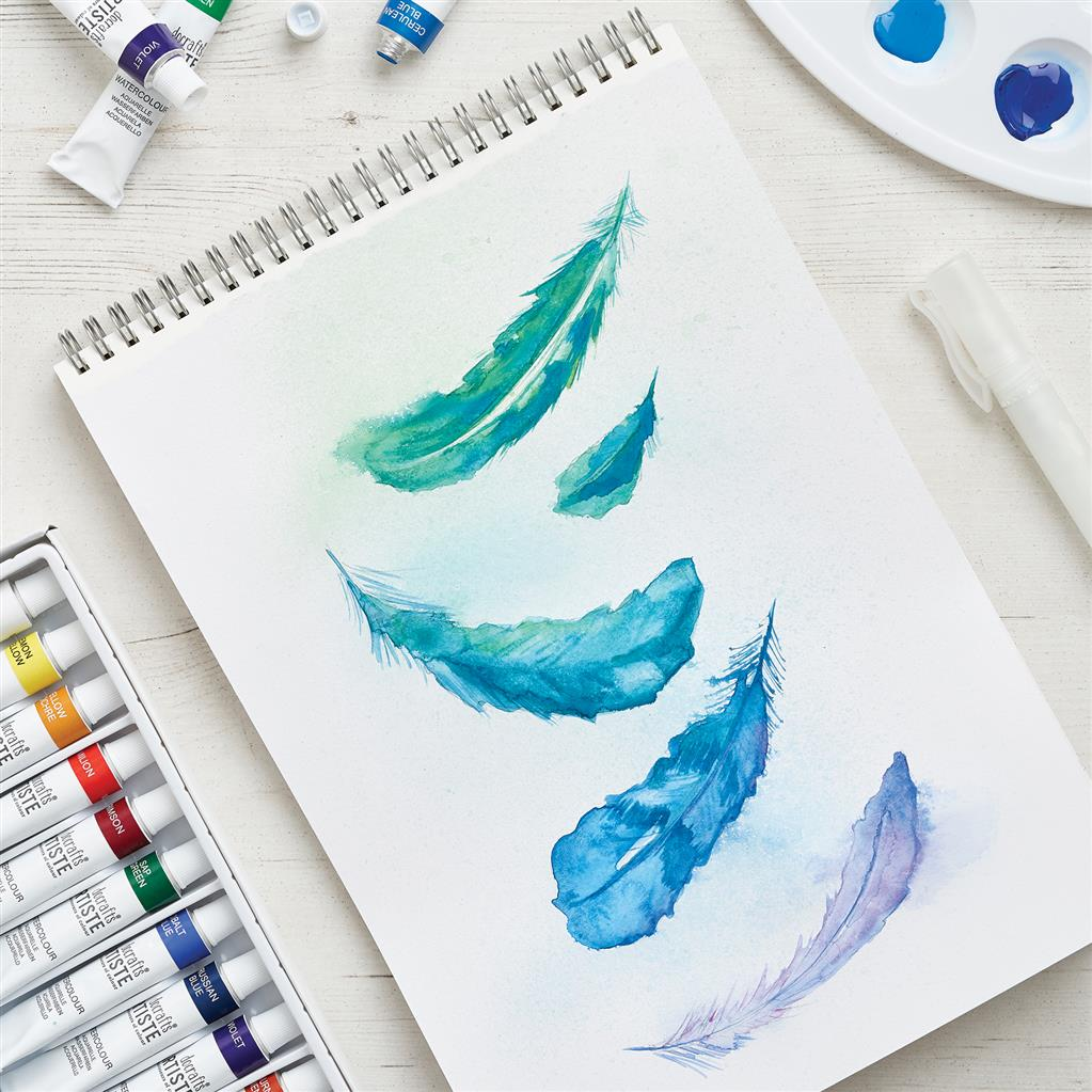 Watercolour Feather Painting using Docrafts Artiste paints