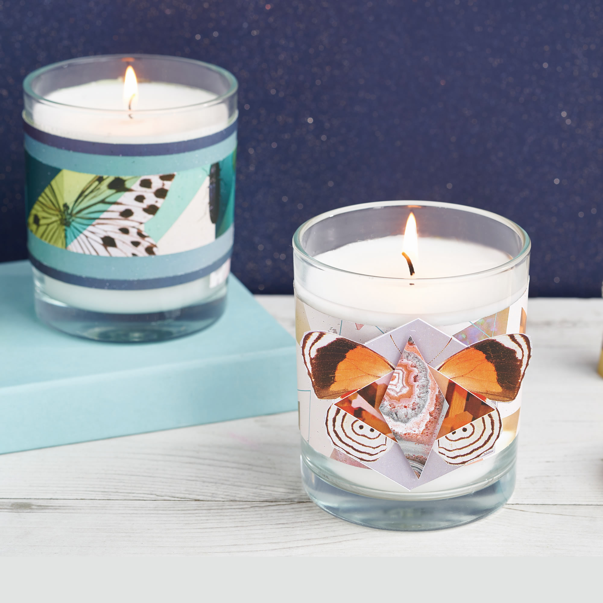 Candle decor using 'Natures Geometry' 12x12 printed paper