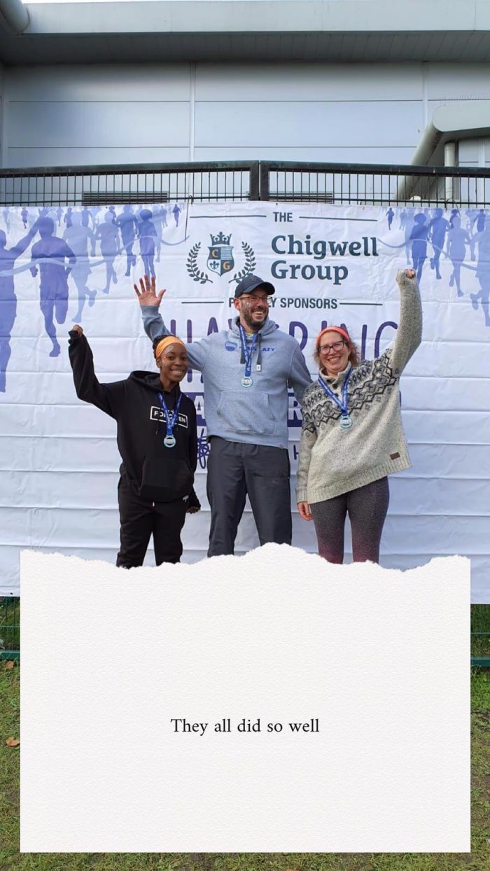 Tash, Jon and Dana -  celebrating their Half Marathon times