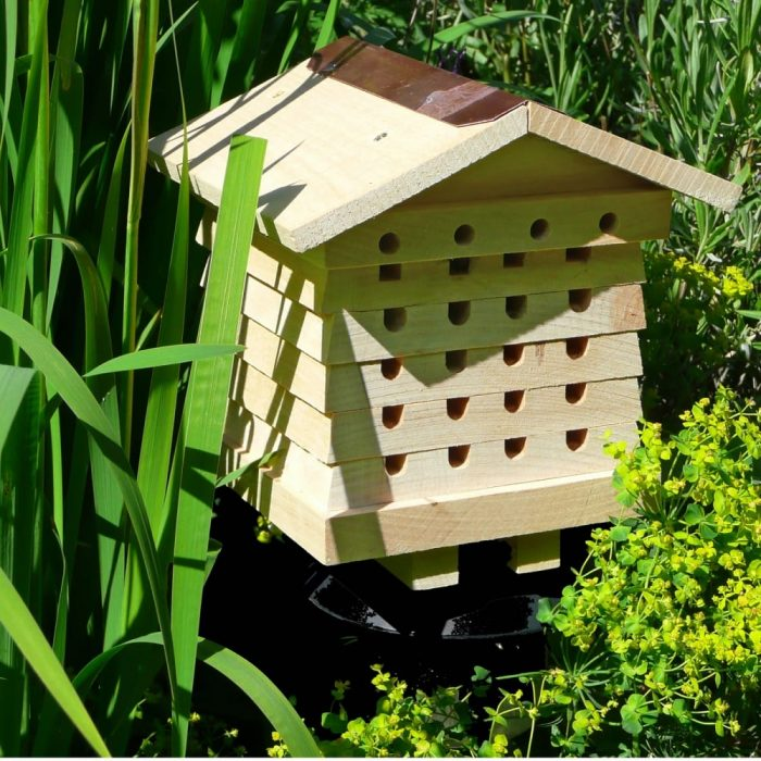 Bee house made from wood
