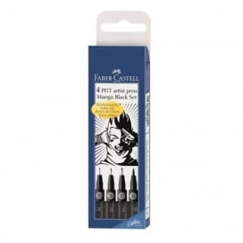 4 PITT Artist Pen Manga Set Black