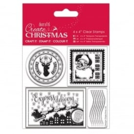 "4x4"" Clear Stamp - Christmas Postage Marks"