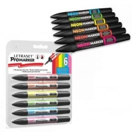 6 Twin-Tipped Neonmarker + Vibrant Tones Promarker Bundle