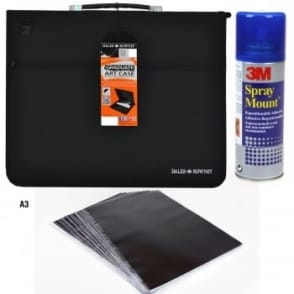 A3 Presentation Portfolio, Sleeves and Spray Mount Bundle
