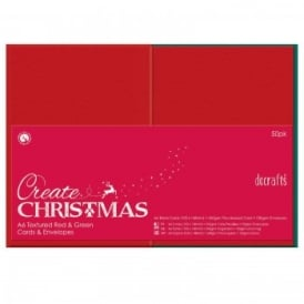 A6 Cards/Envelopes Textured Red & Green 50pk