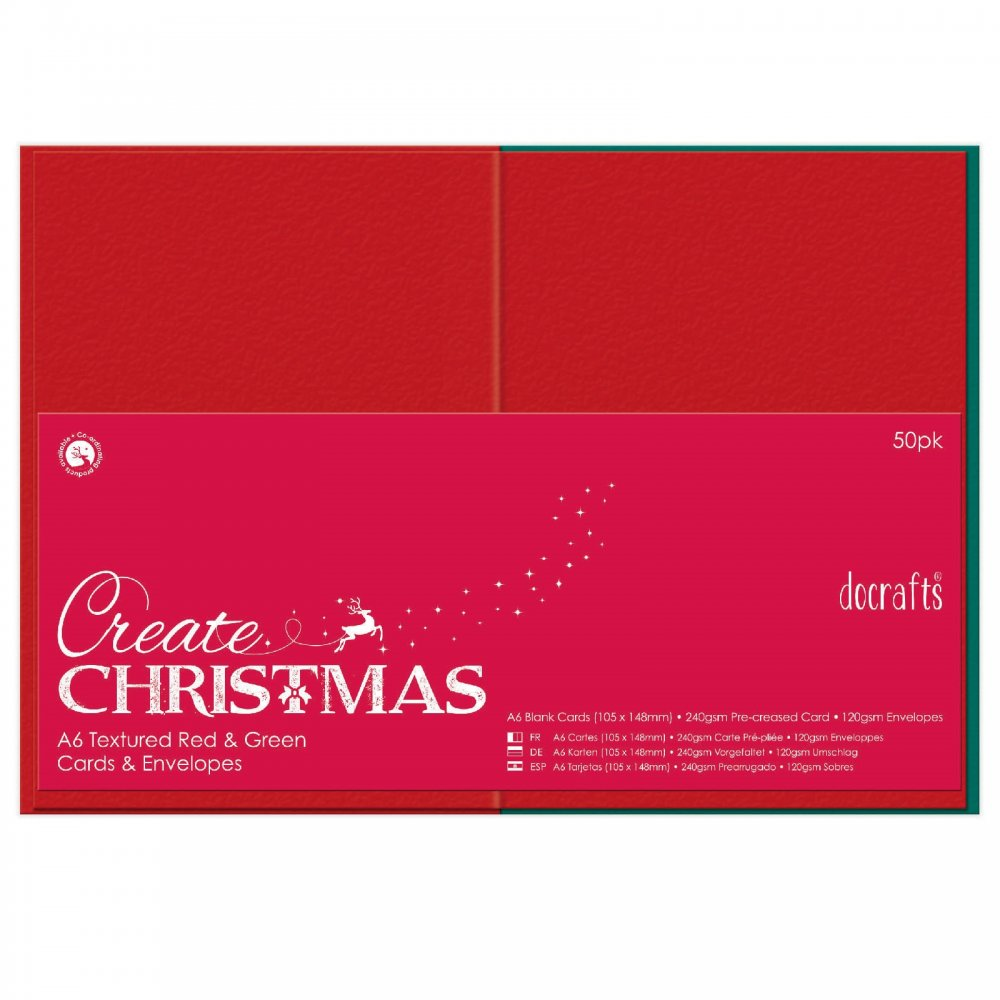 A6 Cards Envelopes Textured Red Green 50pk Docrafts