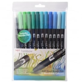 ABT Dual Blendable Brush Pen Ocean -11 Pack Plus Blender