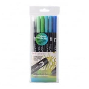 ABT Dual Blendable Brush Pen Ocean -5 Pack Plus Blender