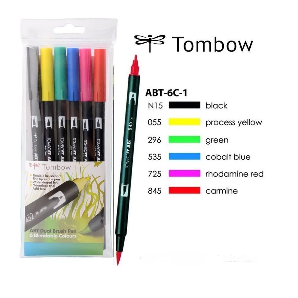 Pack of 6 Tombow ABT Dual Brush Pen Pastel