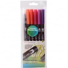 ABT Dual Blendable Brush Pen Sunset -5 Pack Plus Blender