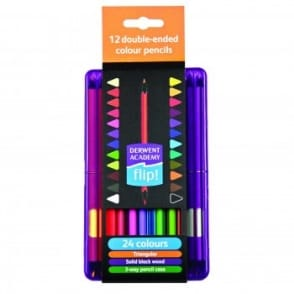 Academy Double-Ended 12 Colouring Pencils Flip Case