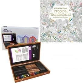 Academy Pencils Wooden Box 35pc + Tropical Colouring book Bundle