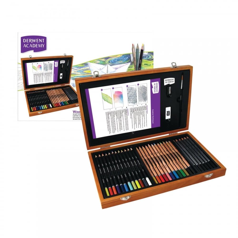 Academy pencils wooden box gift set sketch pad bundle