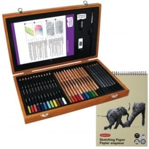 Academy Pencils Wooden Box Gift Set + Sketch Pad Bundle