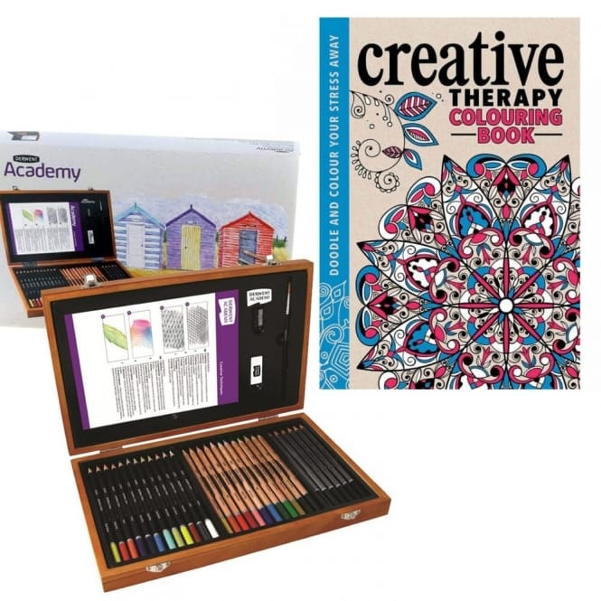 Academy Pencils Wooden Box Gift Set With Colouring Book