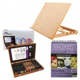 Academy Pencils Wooden Box Gift Set with Easel and A3 Mixed Media Pad