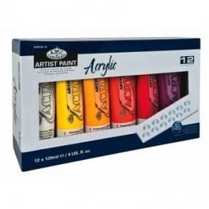 Acrylic Paint Including Mixing Palette 12 x 120ml Set