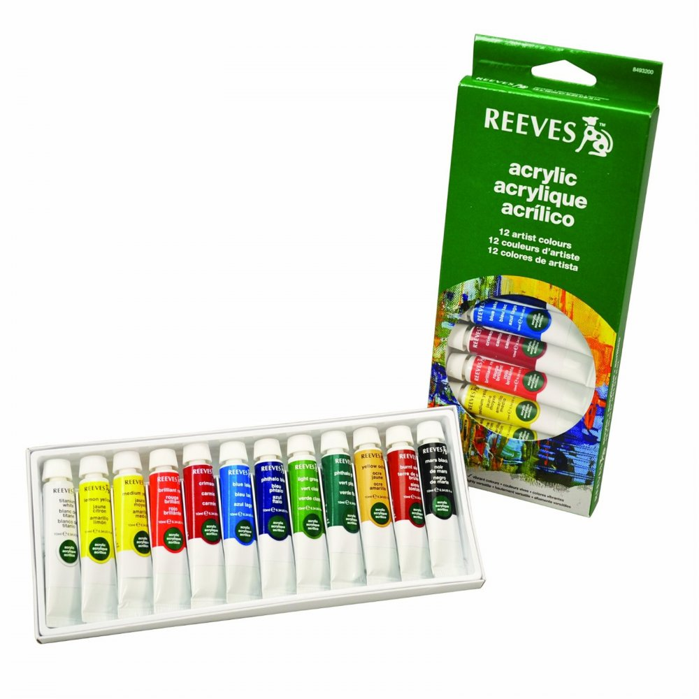 Acrylic paint set of 12 tubes reeves from for Using acrylic paints