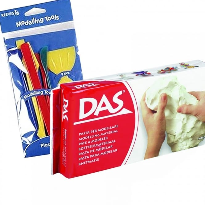 Air Dry Modelling Clay White 1KG & Tool Set