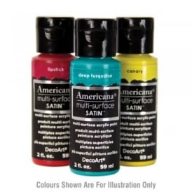 Americana Multi Surface Acrylic Satin Paint, Glass Chalk Paint and Glamour Dust 5 Pack