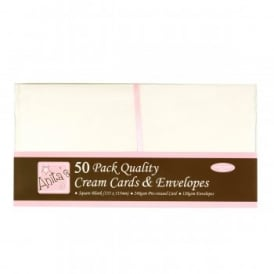 Anita's 50 Pack Quality Blank Cards Cream Square (135 x 135mm)
