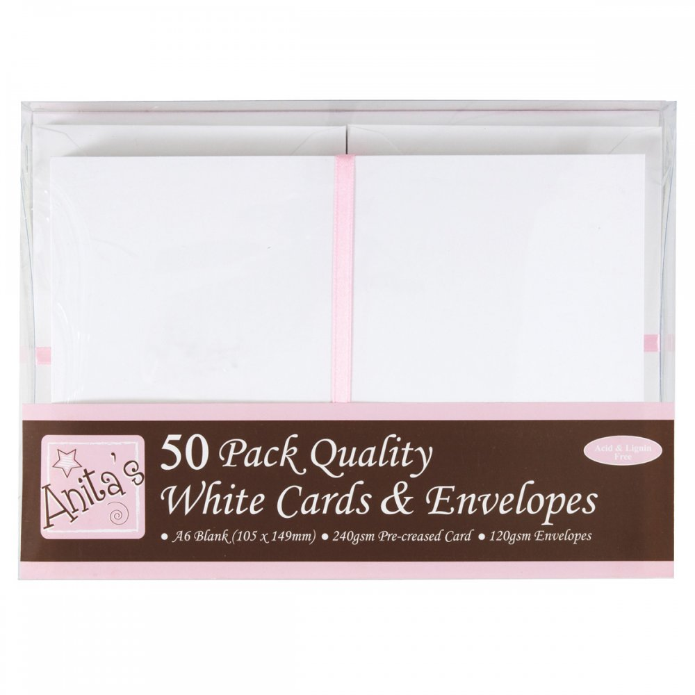 Anita's 50 Pack Quality Blank Cards White A6 (105 x 148mm ...