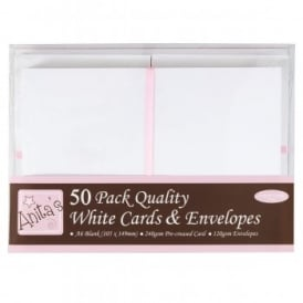 Anita's 50 Pack Quality Blank Cards White A6 (105 x 148mm)