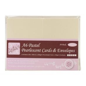 Anita/'s Pack of 50 A6 Cards and Envelopes White 100/% Recycled Cardstock