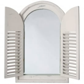 Antique White Style Wooden Arched Garden Glass Mirror With Shutters