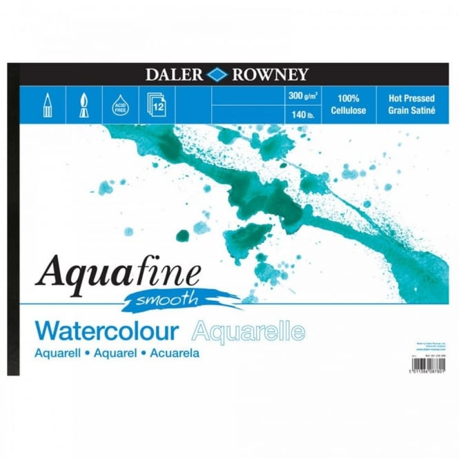 "Aquafine Smooth Watercolour Pad 140lb 16"" x 12"""