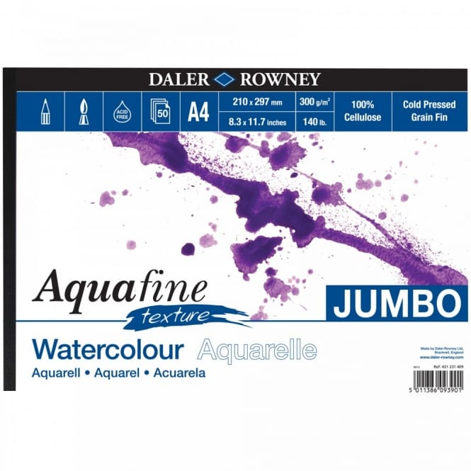 Aquafine Texture Watercolour Jumbo Pad A4
