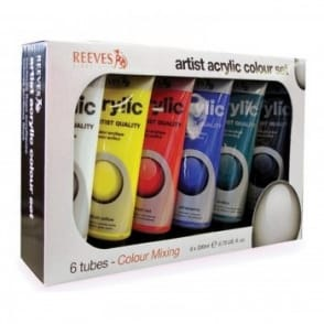 Artist Acrylic Colour Set - 6 x 200ml Mixing Tubes