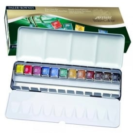 Artists' Watercolour Half Pan 12 Set with Metal Travel Case