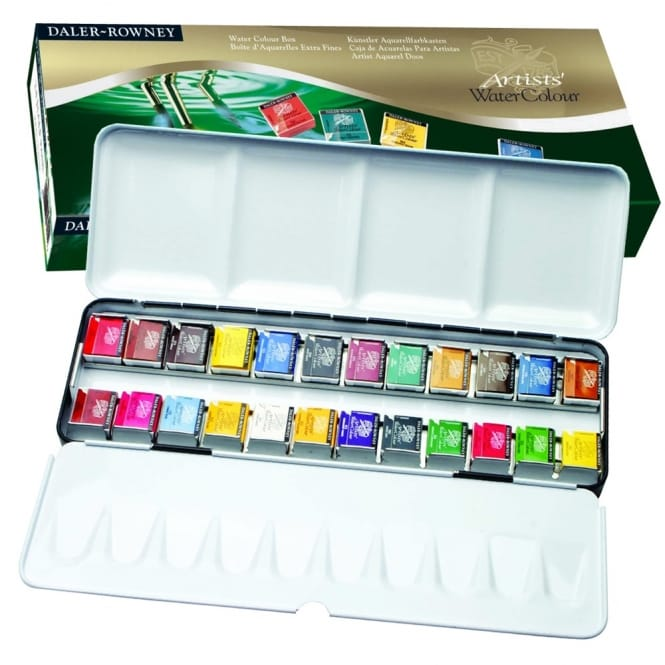 Artists' Watercolour Half Pan 24 Set with Metal Travel Case