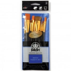 Assorted Gold Taklon and Natural  Brushes 10 pack