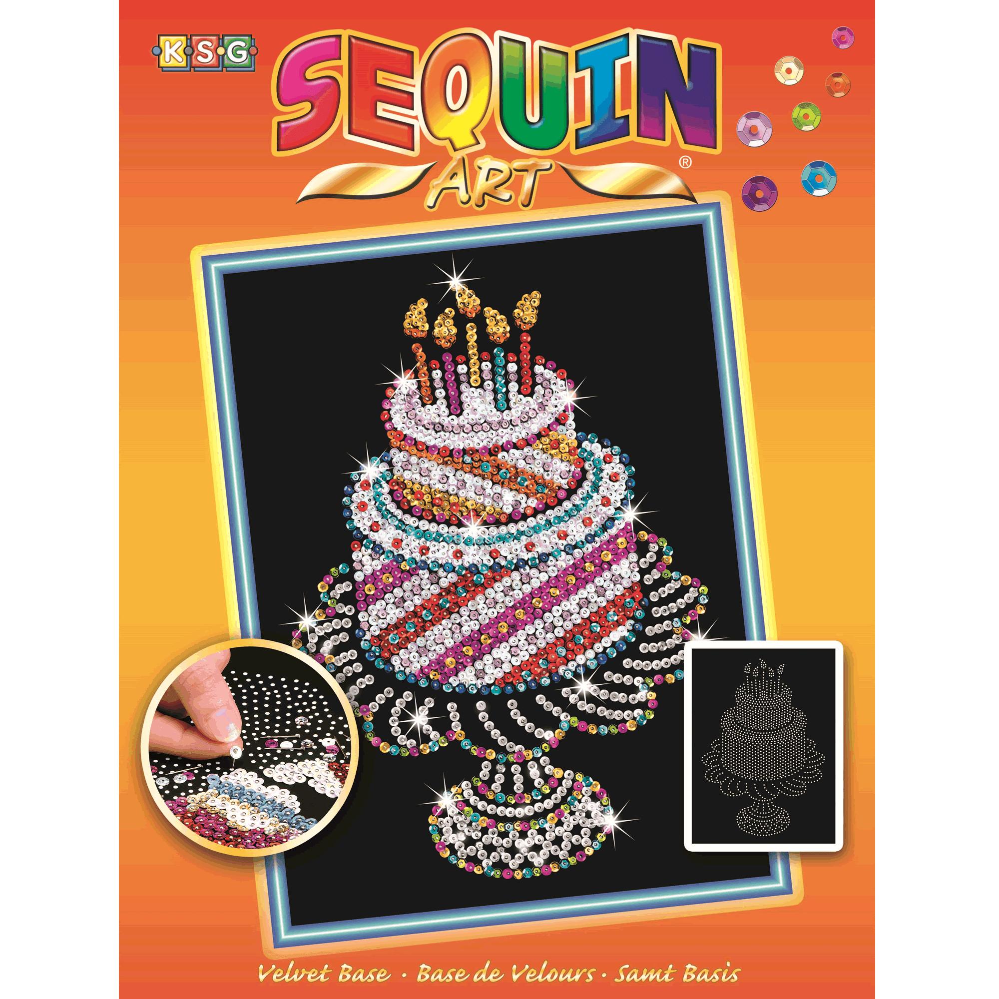 Fantastic Birthday Cake Sequin Art Craftyarts Co Uk Funny Birthday Cards Online Alyptdamsfinfo