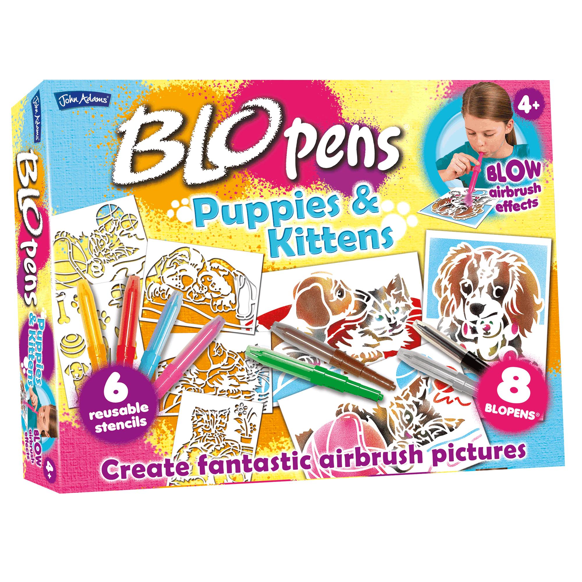 John Adams BLO PENS ANIMALS ACTIVITY SET 8 BloPens Airbrush Effect