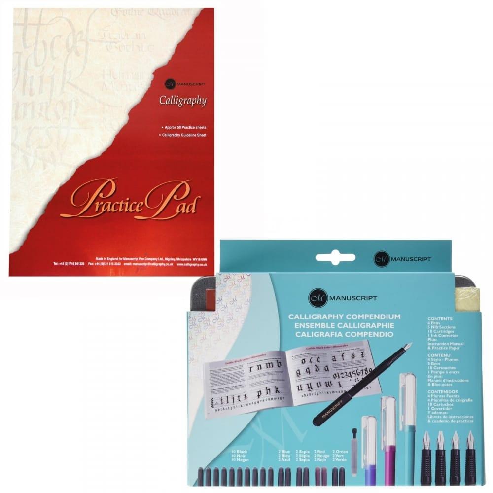 Calligraphy Fountain Pen Compendium Set with Practice Pad Bundle ...
