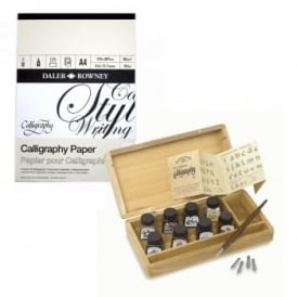 Calligraphy Inks Wooden Box & Pad Bundle