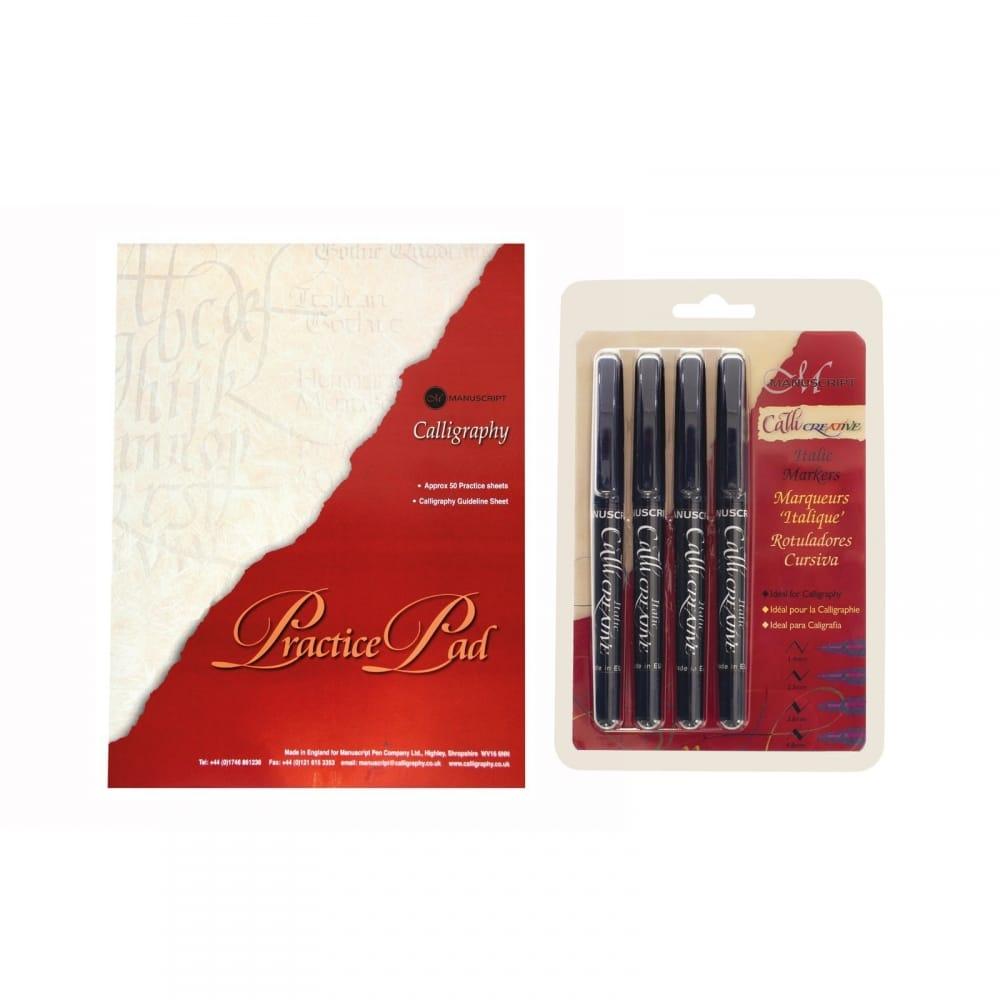 Calligraphy Practice Pad & 4 Itallic Pen Bundle - CraftyArts.co.uk