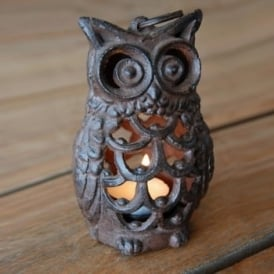 Cast Iron Owl Tea Light Lantern