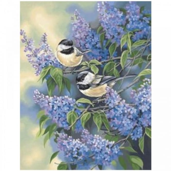 Chickadees and Lilacs Paint by Numbers