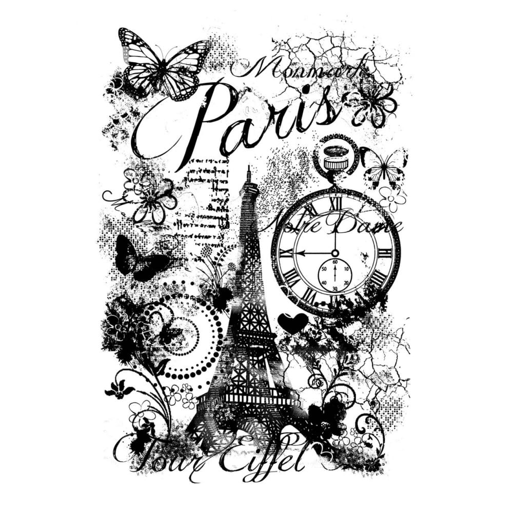 Clear Singles Acrylic Stamp Paris Collage A6
